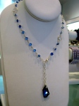"""Coco"" Crystal Drop Necklace in cobalt--can be closed at different points to create varying looks, $156.25"
