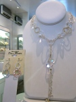 Hammered Rings and Rock Crystal dangly Necklace, $388.75